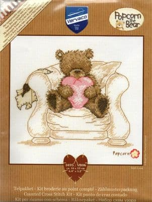 POPCORN THE BEAR - WITH LOVE - COUNTED CROSS STITCH KIT - FINISHED SIZE 16CM X 13CM - 6.4